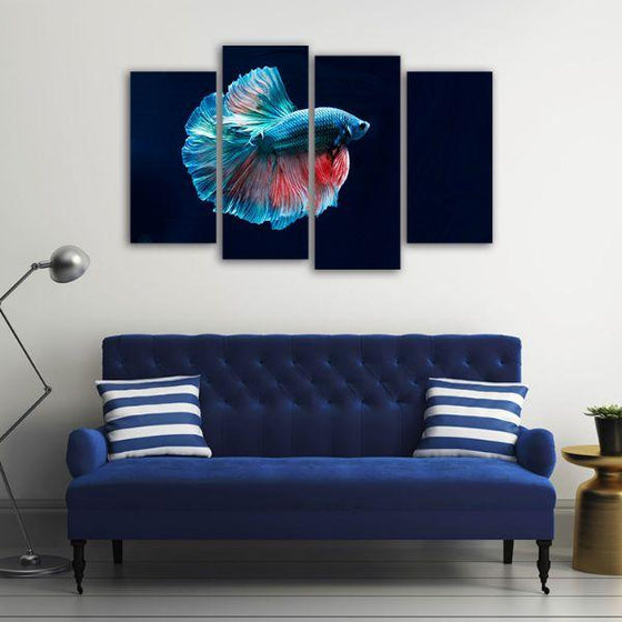 Siamese Fighting Fish 4 Panels Canvas Wall Art Prints