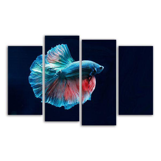 Siamese Fighting Fish 4 Panels Canvas Wall Art