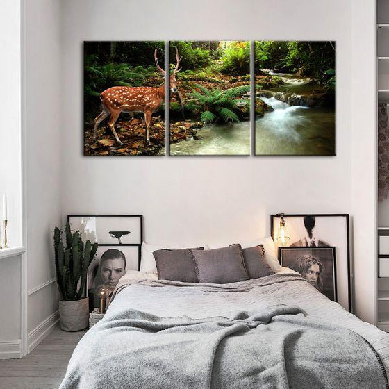 Sika Deer & Tropical Stream 4-Panel Canvas Wall Art Bedroom