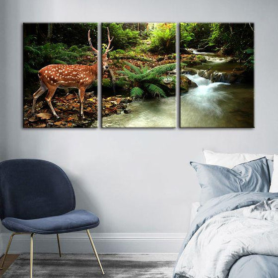 Sika Deer & Tropical Stream 4-Panel Canvas Wall Art Decor