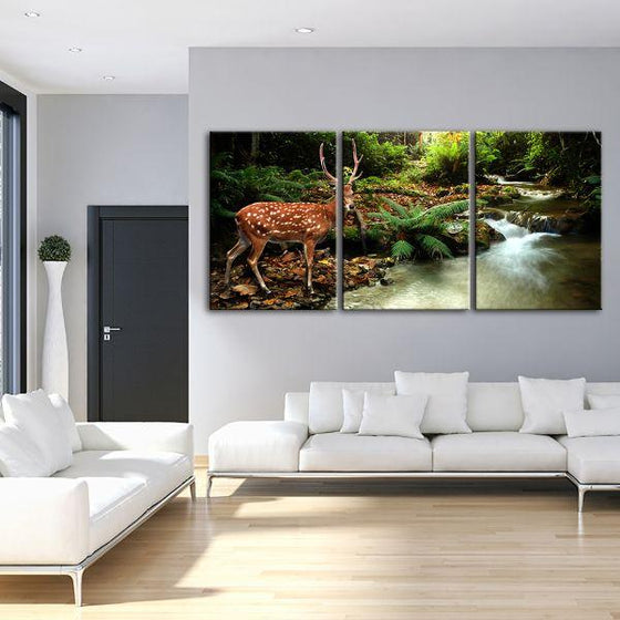 Sika Deer & Tropical Stream 4-Panel Canvas Wall Art Living Room