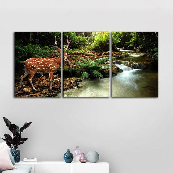 Sika Deer & Tropical Stream 4-Panel Canvas Wall Art Print
