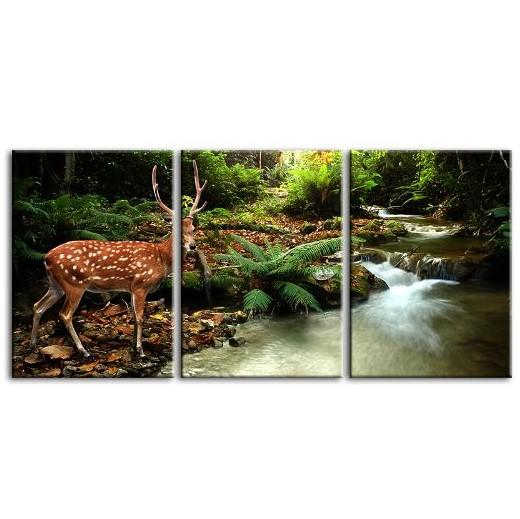 Sika Deer & Tropical Stream 4-Panel Canvas Wall Art