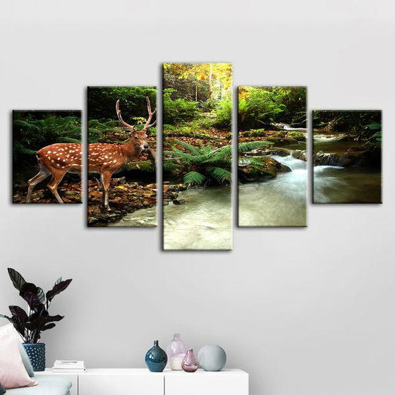 Sika Deer & Tropical Stream 5-Panel Canvas Wall Art Decor