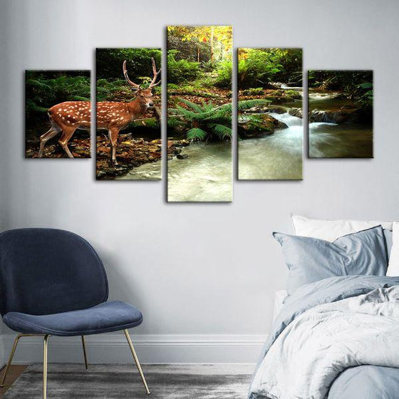 Sika Deer & Tropical Stream 5-Panel Canvas Wall Art Set