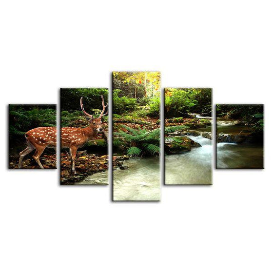 Sika Deer & Tropical Stream 5-Panel Canvas Wall Art