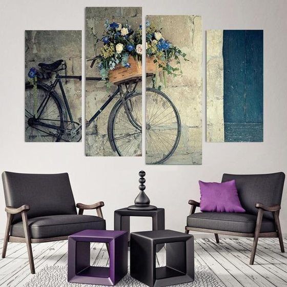Flowers In A Bike Basket Canvas Wall Art Home Decor