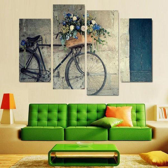 Flowers In A Bike Basket Canvas Wall Art Living Room
