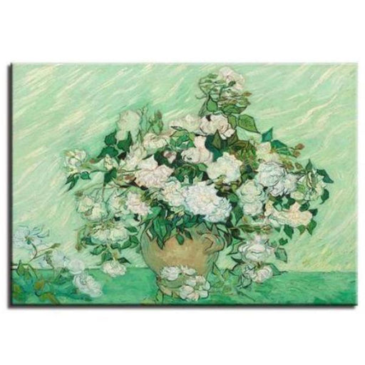 Single Panel White Roses Van Gogh Wall Art Canvas