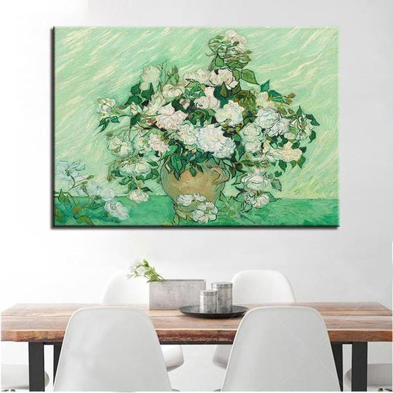 Single Panel White Roses Van Gogh Wall Art Dining Room