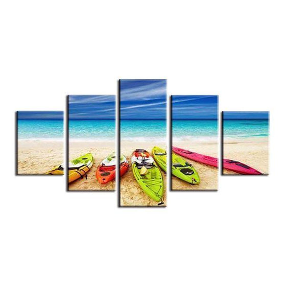 Beach With Kayaks View Canvas Wall Art
