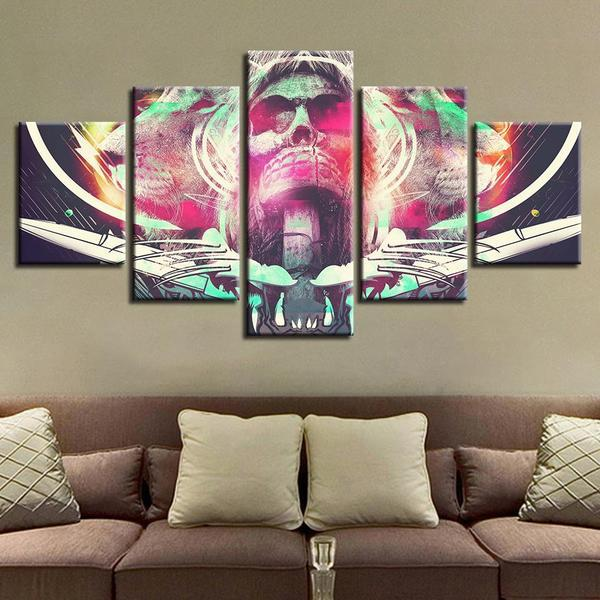 Abstract Skull And Tiger Canvas Wall Art — canvasx.net
