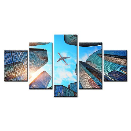 Sky Scrapers & Airplane Canvas Wall Art