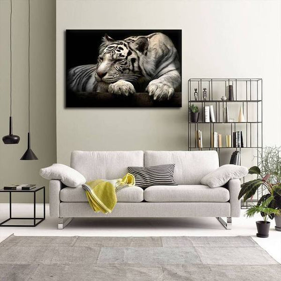 Sleeping White Tiger Canvas Wall Art Living Room