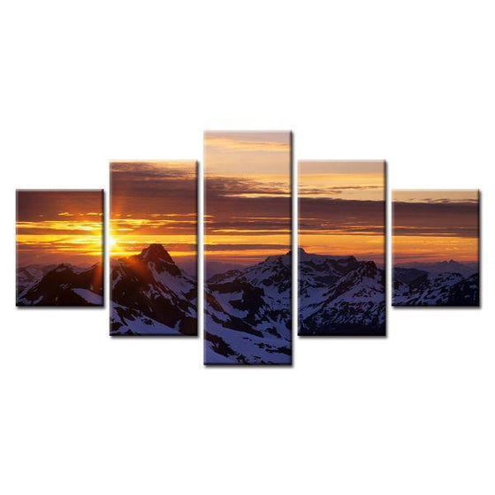 Snowy Mountains Sunset Canvas Wall Art
