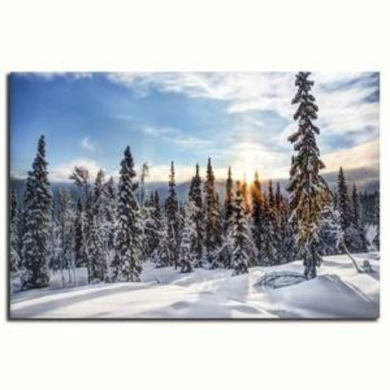 Snowy Pine Trees Wall Art Canvas