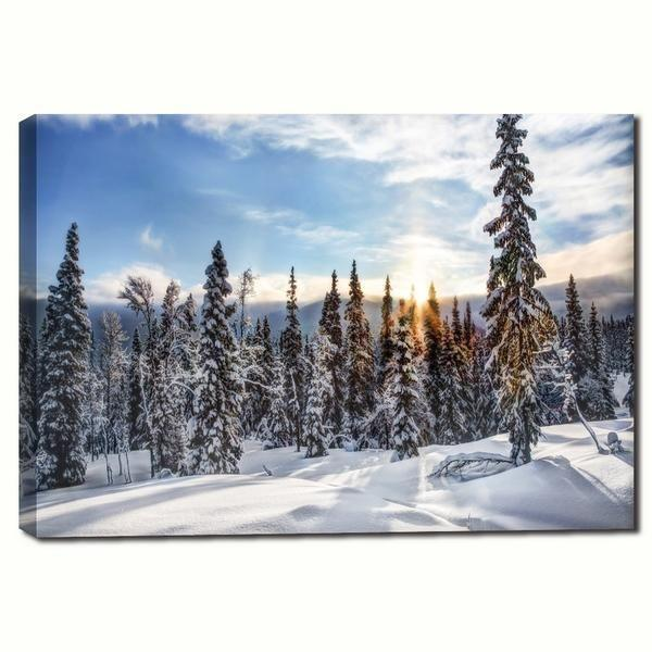 Snowy Pine Trees Canvas Wall Art | Scenic Nature Canvas Prints ...