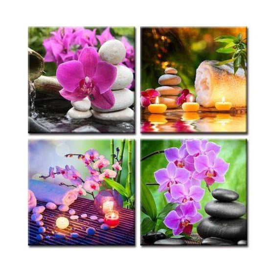 Spa Flowers & Zen Stones Canvas Wall Art