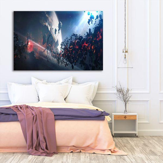 Space Meteoroid Abstract Canvas Wall Art Bedroom