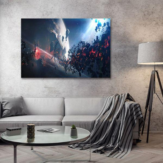 Space Meteoroid Abstract Canvas Wall Art Living Room