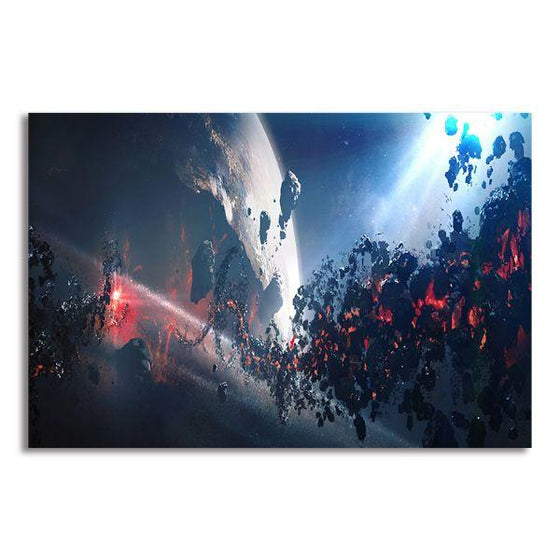 Space Meteoroid Abstract Canvas Wall Art