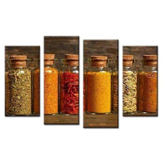 Spices In Bottles Canvas Wall Art