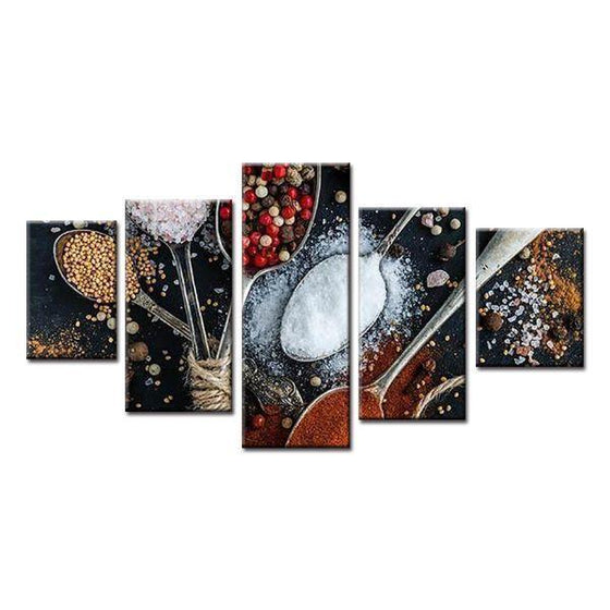Spices In Spoons Canvas Wall Art