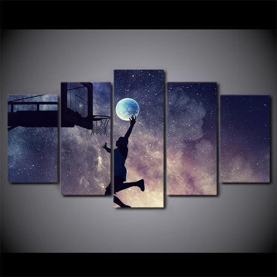 Playing Basketball Starry Sky Canvas Wall Art Prints