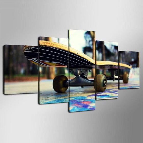 Colorful Floor Skateboard Canvas Wall Art Ideas