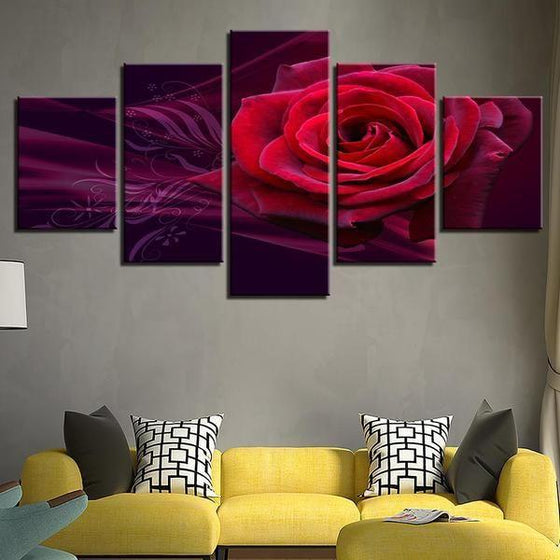 Red Rose Canvas Wall Art For Living Room