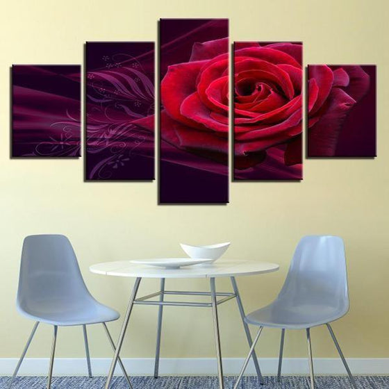Red Rose Canvas Wall Art For Dining Room