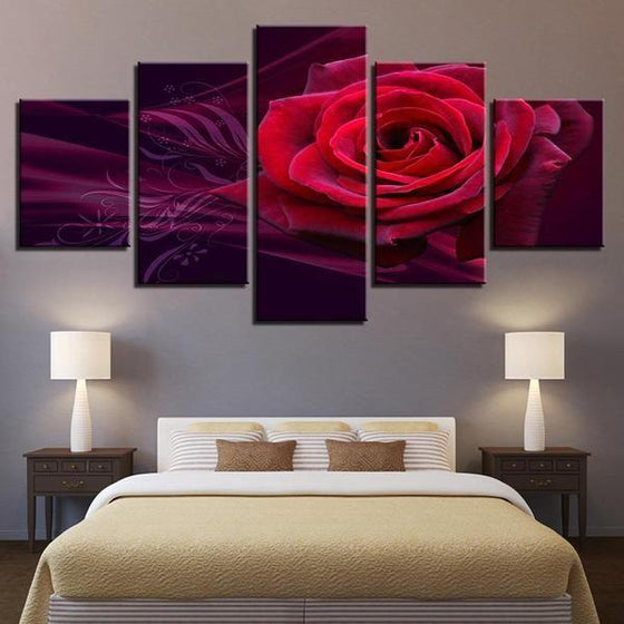 Red Rose Canvas Wall Art For Bedroom