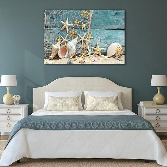 Starfish And Seashells Canvas Wall Art Bedroom