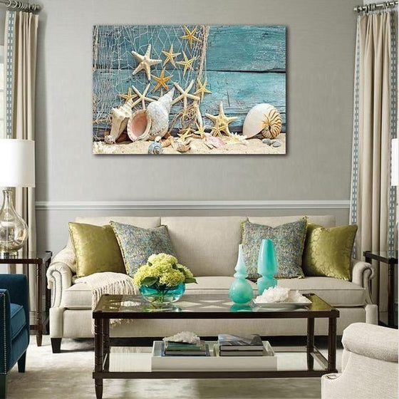 Starfish And Seashells Canvas Wall Art Living Room
