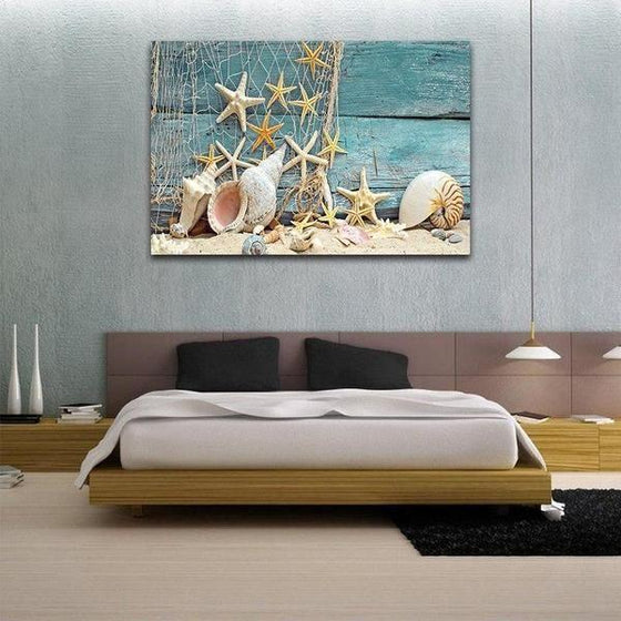 Starfish And Seashells Canvas Wall Art Print