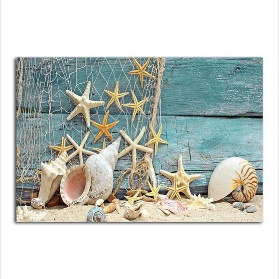 Starfish And Seashells Canvas Wall Art