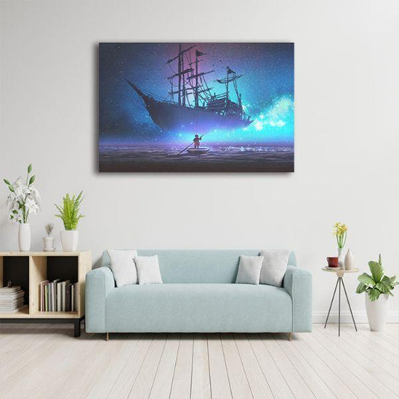 Starry Sky & Pirate Ship 1 Panel Canvas Wall Art Decor