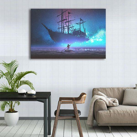 Starry Sky & Pirate Ship 1 Panel Canvas Wall Art Dining Room