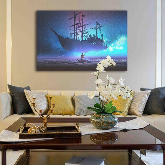 Starry Sky & Pirate Ship 1 Panel Canvas Wall Art Living Room