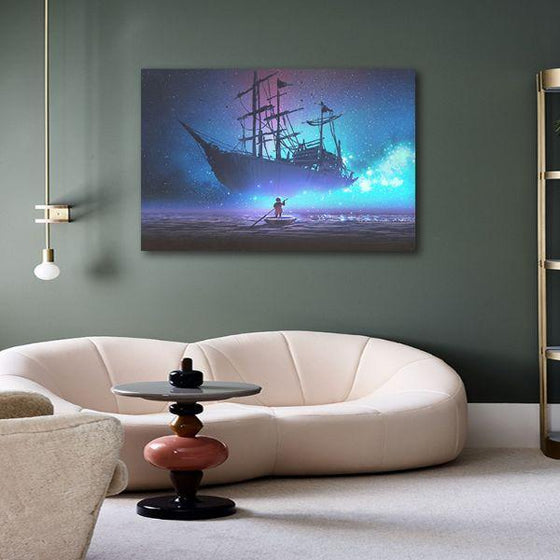 Starry Sky & Pirate Ship 1 Panel Canvas Wall Art Print