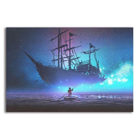 Starry Sky & Pirate Ship 1 Panel Canvas Wall Art