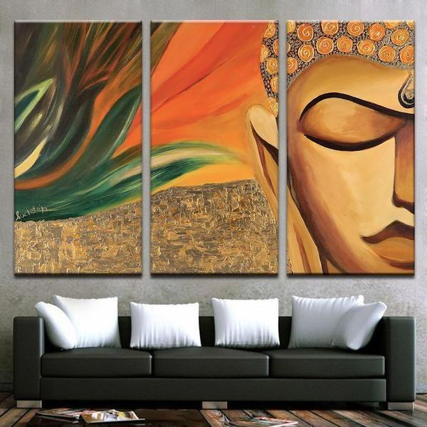 Stone Buddha Wall Art Canvases