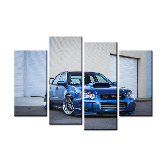Blue Subaru WRX STI Canvas Wall Art