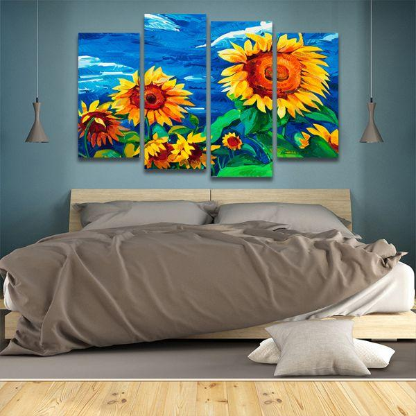 Vibrant Sunflower Field 4 Panels Canvas Wall Art Bedroom