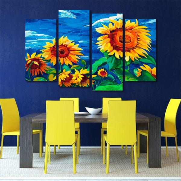 Vibrant Sunflower Field 4 Panels Canvas Wall Art Dining Room