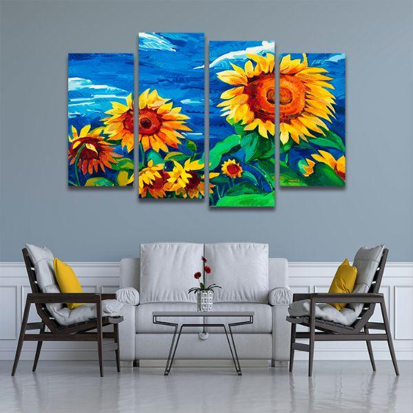 Vibrant Sunflower Field 4 Panels Canvas Wall Art Living Room
