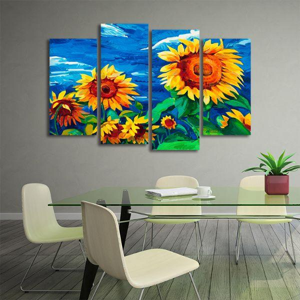 Vibrant Sunflower Field 4 Panels Canvas Wall Art Office