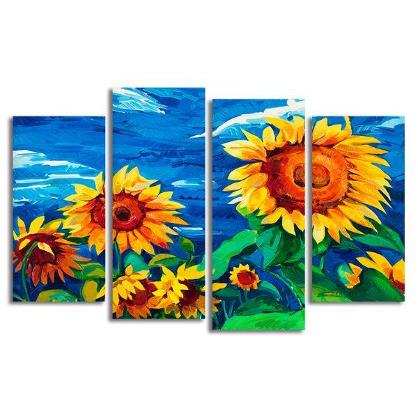 Vibrant Sunflower Field 4 Panels Canvas Wall Art