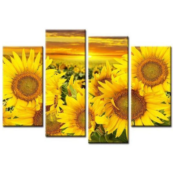 Blooming Sunflowers Canvas Wall Art Prints