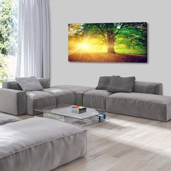 Sunlight Over A Huge Tree Canvas Wall Art Living Room